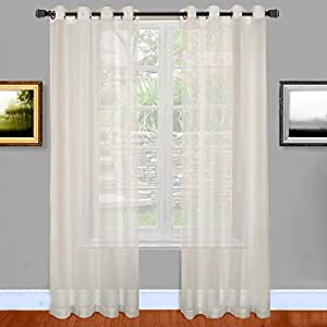 Warm home designs bright white sheer window curtains with grommet top for bedroom - Amazon curtains living room ...