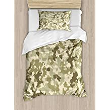 Camo Duvet Cover Set by Ambesonne, Old Fashioned Camouflage Pattern Classical Jungle Survival Theme, 2 Piece Bedding Set with Pillow Sham, Twin / Twin XL, Army Green Pale Green Cream