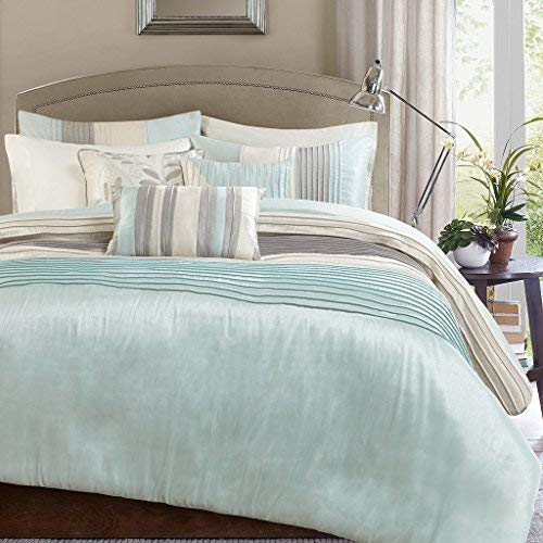 Aqua King Duvet - Madison Park Amherst 6 Piece Duvet Cover Set, Aqua, Cal King, King King