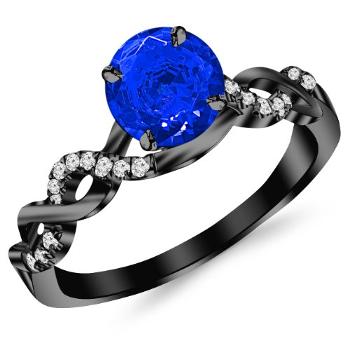 0.63 Carat 14K Black Gold Twisting Infinity Gold and Diamond Split Shank Pave Set Diamond Engagement Ring with a 0.5 Carat Natural Blue Sapphire Center (Heirloom Quality) Center Sapphire Engagement Ring
