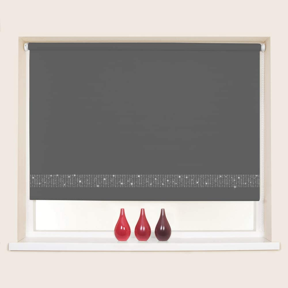 60cm 23.6 Custom Made To Measure Thermal Roller Blinds Easy Fit Child Safe Aubergine Diamante Finish