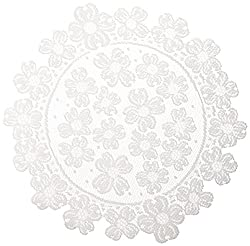 Heritage Lace Round Dogwood Doily, 14-inch, White, Set Of 2