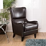 Great Deal Furniture Ellery Brown Leather Wingback Club Armchair For Sale