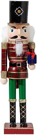 Classique Nutcracker Christmas Casse Noix Noel Soldat Figurine Peint /À La Main Paillettes Rouge Pour Maison Table Decoration De No/ël 50CM Grand Casse Noisette En Bois
