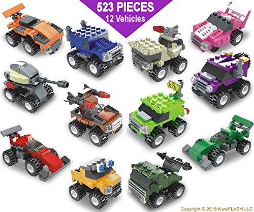 KareFLASH Building Block Lego Compatible, Cars, Trucks and Military. Pull Back Propultion. IQ Maker. Party Favors Bags. Build and Race Them! Kids Just Love Them!
