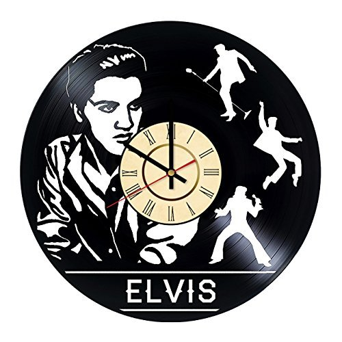 Fun Door Elvis Presley Music Handmade Vinyl Record Wall Clock for Birthday Wedding Anniversary Valentine's Mother's Ideas for Men and Women him and -