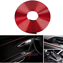Car interior moulding Trim,3D DIY 5 Meters Electroplating Color Film Car Interior Exterior Decoration Moulding Trim Strip line by Auto Parts Club (red)