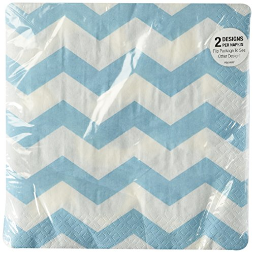 Light Blue Chevrons and Dots Printed Lunch Napkins (16 ct)