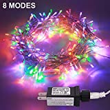 JMEXSUSS 100LED 49.2ft Indoor String Christmas Lights 30V 8 Modes Fairy String for Homes, Christmas Tree, Wedding Party, Bedroom, Indoor Wall Decoration, UL588 Approved (100LED, Multicolor)