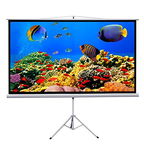 """Yaheetech 100"""" Matte White Manual Projector Projection Screen (Screen+Stand)"""