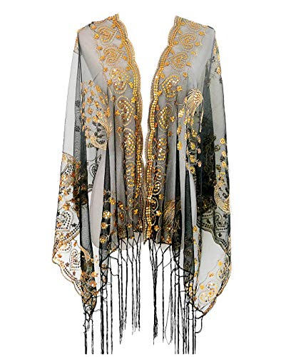 L'vow Women's Gatsby 1920s Scarf Glitter Mesh Sequin Wedding Cape Shawl Fringed Evening Wrap (Gold and ()