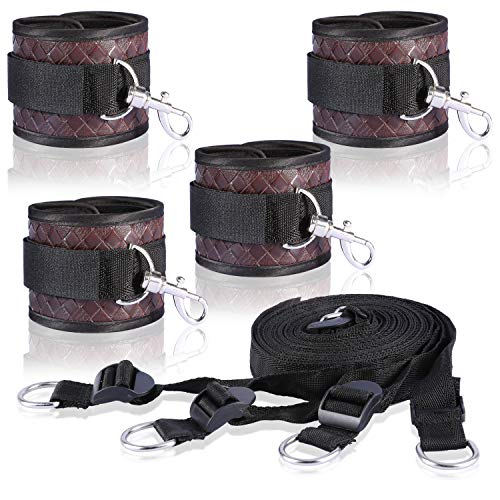 (Cyan Phoebe Bed Nylon PU Straps Kits, Adjustable Soft Comfortable Wrist and Ankle Cuffs Exercise Sports Fitness Planners)