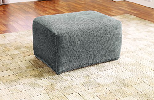 Sure Fit SF45540 Stretch Pique Oversized Ottoman Slipcover, Flannel Gray
