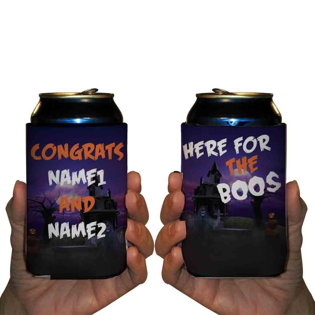 Custom Halloween Wedding Can Cooler- Here For The Boos Can Cooler (150) by VictoryStore