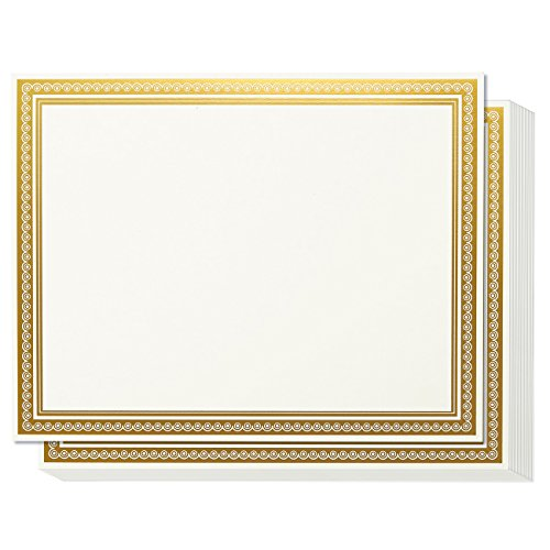 Award Certificates - 50 Blank Plain White Paper Sheets - With Gold Foil Metallic Border Computer Paper - Laser & Inkjet Printer Compatible - Specialty Award Paper, 11 x 8.5 (Paper Borders)