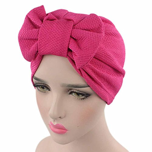 Women Cancer Bow Chemo Hat Beanie Turban Head Wrap Cap with Bowknot Muranba (Hot Pink, Free) ()
