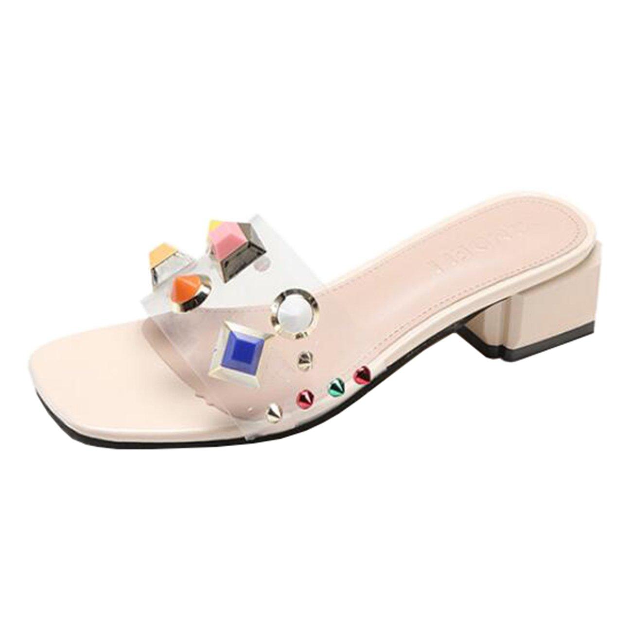Mashiaoyi Damen Peep-Toe Blockabsatz Ohne Verschluss Niet Sandalen Beige