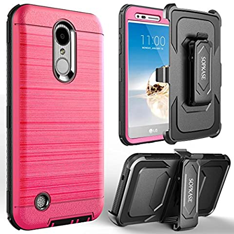 LG K20 Plus Case / LG K20 V Case, SOPKASE with [Built in Screen Protector] Heavy Duty Full-Body Rugged Dual Layer Protection Locking [Belt Swivel Clip] Holster with [Kickstand], (V3 Watch Phone)