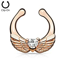 1pc Non-Piercing Angel Wings Septum Hanger Clip-On Fake Nose Ring Body Jewelry