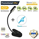 Easy CLIP ON READING LIGHT, BOOK LIGHT & BED LIGHT for reading in Bed or Desk. RECHARGEABLE, EYE-CARE Protection, 20 HOUR use, 2 Modes, 4 LED. Good for Music stand, kids, WARM TRAVEL LIGHT & CAMPING