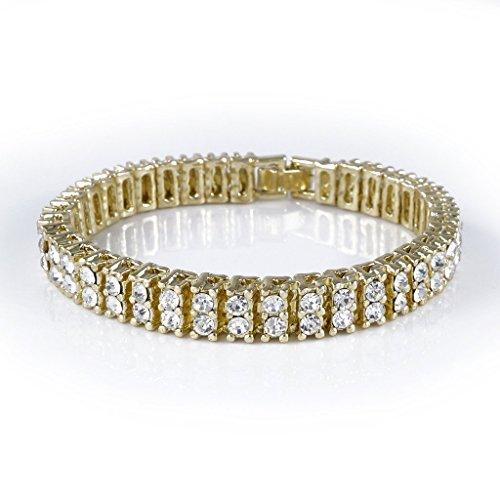 Two Row Diamond Bracelet (14K Gold Plated 2 ROW Diamond Iced Out Bracelet (8)