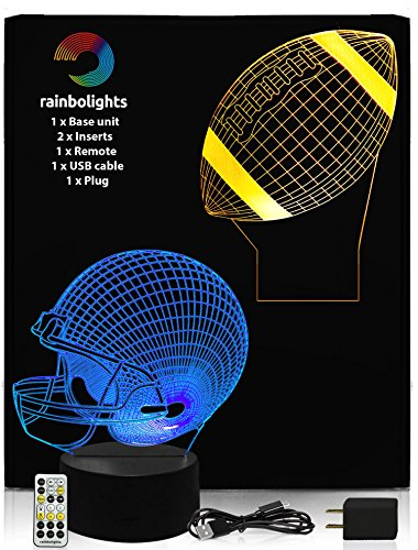 Football Gift Set Includes Football and Football Helemt Designs 3D llusion Lamp Comes with Remote Controller and USB Cable and Mains Plug by rainbolights