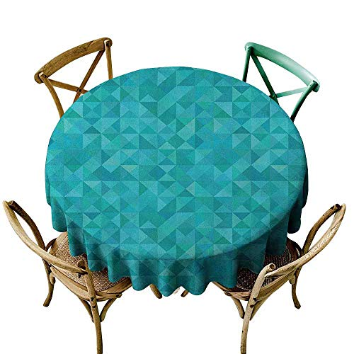 - Sunnyhome Tablecloth for Kids/Childrens Teal Geometrical Shapes Triangles Squares Modern Abstract Art Different Shades of Blue Turquoise Aqua Stain Resistant, Washable 47 INCH