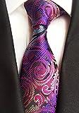 Secdtie Mens Slim Stripe Paisley Floral Jacquard Woven Silk Tie Formal Necktie