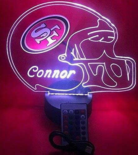 San Francisco 49ers NFL Light Up Lamp LED Personalized Free Football SF 49ers Light Lamp LED Table Lamp, Our Newest Feature - Its WOW, With Remote, 16 Color Options, Dimmer, Free Engraved, Great Gift