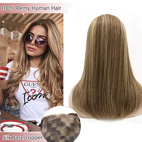 LaaVoo 14inch Remy Straight Human Hair Crown with Mono Hand Made Cap 45inch With 4 Clips Highlight Color Ash Brown Mixed Golden Blonde Silk Base Toupee Hair Toppers