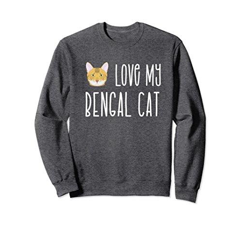 Unisex Love My Bengal Cat Sweatshirt Small Dark Heather