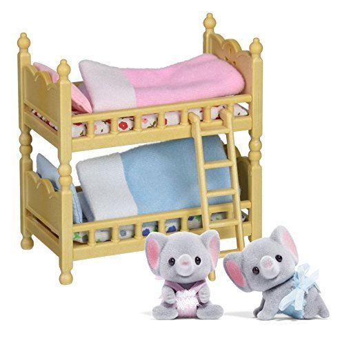 Maven Gifts: Calico Critters of Cloverleaf Corners Bundle - Ellwoods Elephant Twins Set with Bunk Beds Set - Build Skills with Imaginative Play