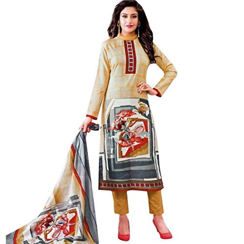 Ready to Wear Lawn Cotton Ethnic Printed Salwar Kameez suit Indian – 0X Plus, Beige