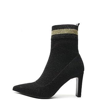 Botines para mujer, calcetines de punto elásticos de otoño / invierno, botas de moda