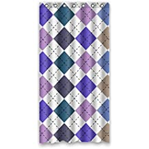 """36 """"x72"""" colorful square lattice dotted line background new bathroon shower curtain with ring hooks modern designs (90cm x 183cm)"""