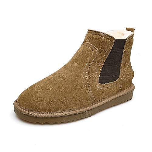 Women 's winter snow boots flat short boots leather thickening trend cotton shoes ( Color : Brown , Size : US:5.5\UK:4.5\EUR:36 )