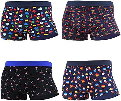 WeciBor Mens Colorful Boxer Shorts Underwear Cotton Funny Pattern Boxer Briefs 4 Packs