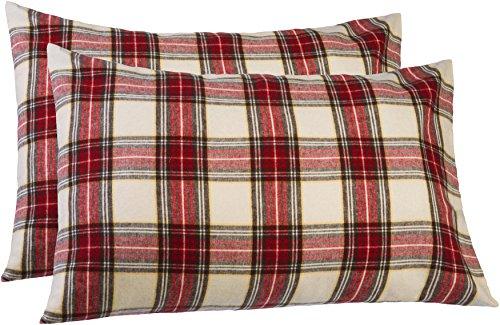 Pinzon 160 Gram Plaid Flannel Pillowcases – King, Cream/Re