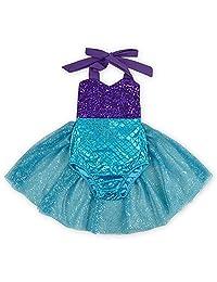 IBTOM CASTLE Baby Girls Sequin Bodysuit Mermaid Tulle Romper Jumpsuit Outfits