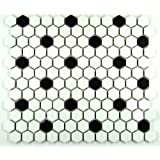 Hexagon White with Black Dots Porcelain Mosaic Tile Matte Look 1x1 Inch by Daltile