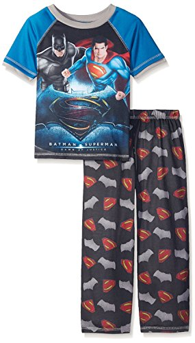 Justice League Boys' Big Batman VS Superman 2 Piece Pajama Set, Black, Medium (8)