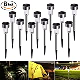 Solar Garden Lights,Bawoo Set of 12 LED Stainless Steel Solar Garden Lights for Outdoor .Garden.Pa