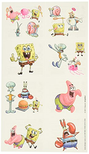 "Amscan Silly Sponge Bob Party Temporary Tattoo Favors, Multicolor, 2"" x 1 3/4"""