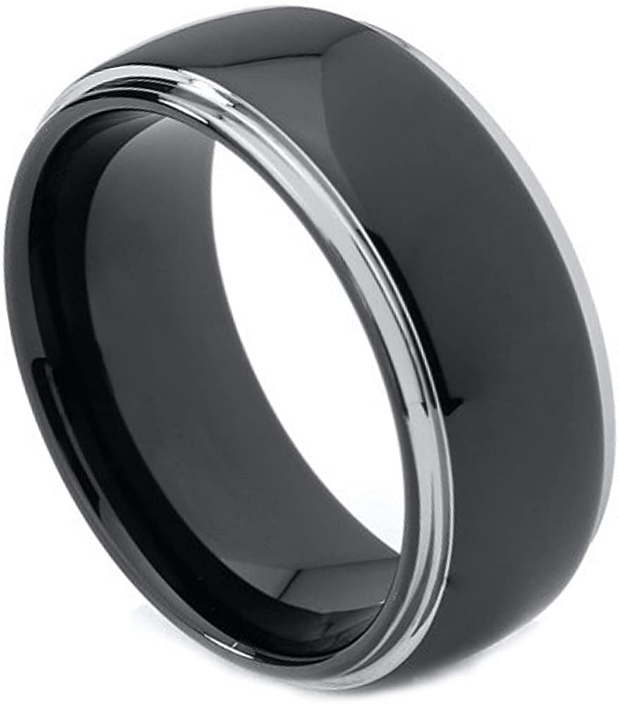 8mm Tungsten Carbide Black Enamel Center With Shiny stepped edge Wedding Band Ring For Men Or Ladies