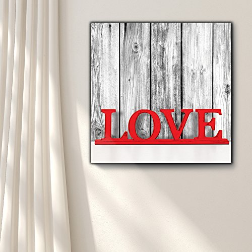 Romance Series Black White and red Color pop Rustic Wood Painted red hot Love Typography Shabby Chic