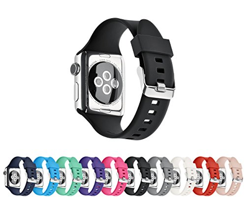 Apple Watch Silicone Replacement Band, Sport Edition by Pantheon,Strap fits the 38mm or 42mm Apple Watch 1, 2, 3 and Nike edition - Solid Color