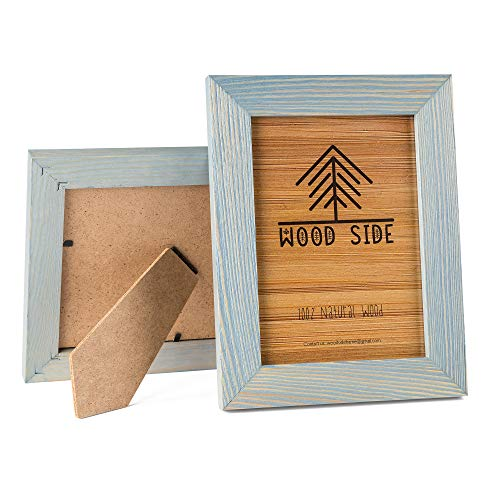 - Rustic Wooden Picture Frame 5x7 Inch - Blue Turquoise Set of 2-100% Natural Eco Distressed Wood and Real Glass - Made for Wall and Table Top Display