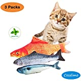 Toys Set Simulation Fish, 3 PCS Catnip Fish Cat Toy Interactive Soft Plush Pillow Chew Bite Kick Supplies for Cat/Kitty/Kitten Catnip Crinkle Toys