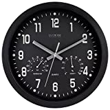 La Crosse  404-2631 12'  Black Analog Clock with Temp & Humidity