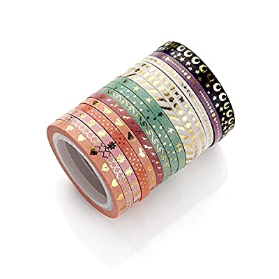 Agutape AGU Foil Gold Skinny Washi Tape DIY Japanese Masking Tape Supplies Set of 16 from Agutape